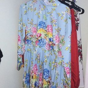 Button floral colourful dress